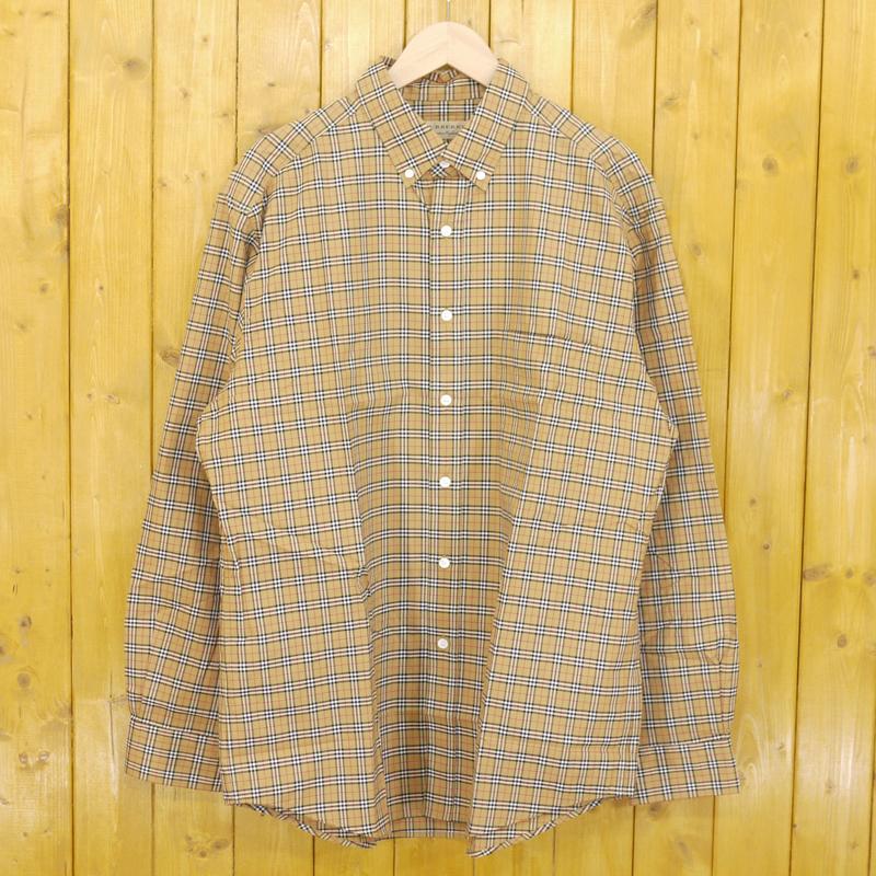 【中古】BURBERRY LONDON ENGLAND/バーバリーロンドンイングランド JAMESON Check Button Down Shirt チェックボタンダウンシャツ サイズ:XL カラー:ベージュ【f102】