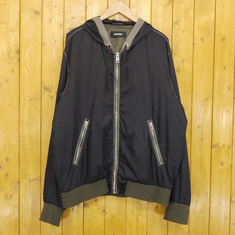 【中古】DIESEL/ディーゼル ジップアップパーカー ジャケット サイズ:XXL カラー:ブラック【f094】