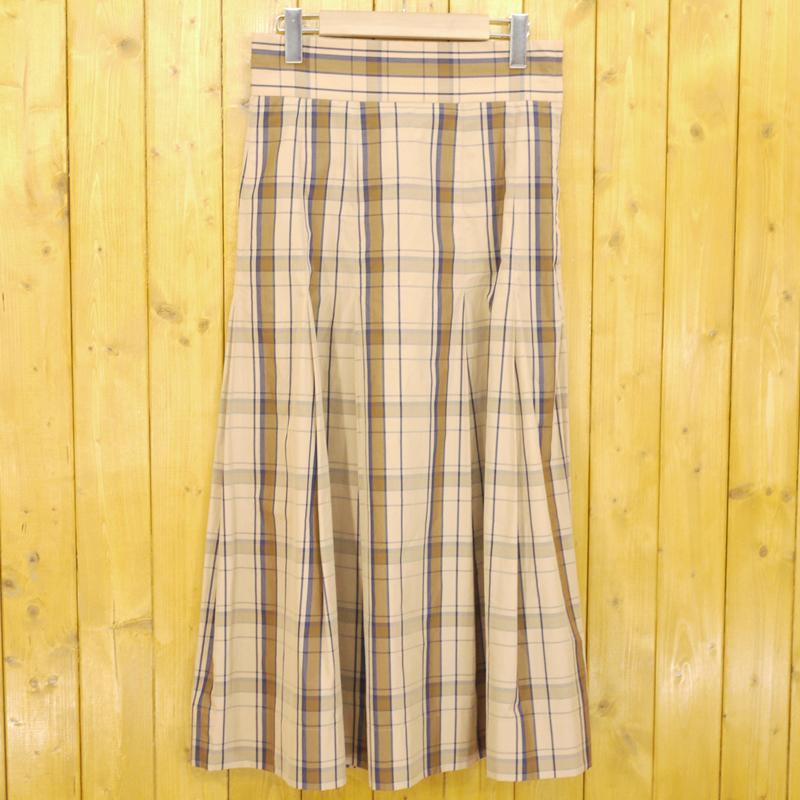 【中古】Scye/サイ チェックロングスカート サイズ:38 カラー:ベージュなど【f111】