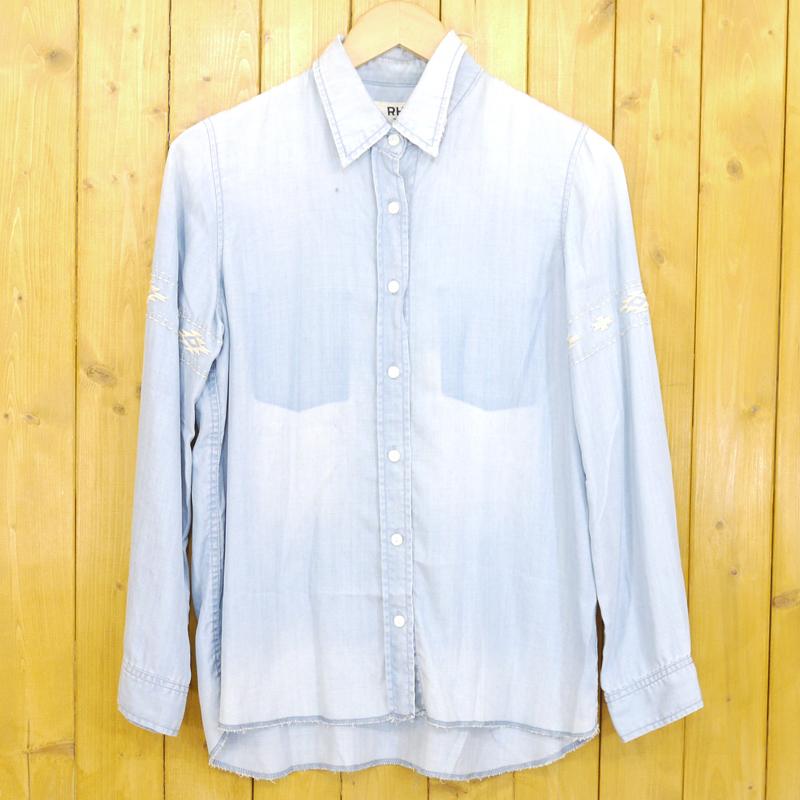 【期間限定】ポイント20倍【中古】RHC/ロンハーマン 加工シャンブレーシャツ 袖刺繍 サイズ:S カラー:ブルー【f102】