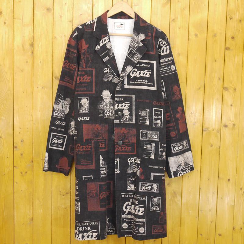 【中古】GANGSTERVILLE/ギャングスタビル GAXIE SHOP COAT LONG ロングショップコート ガウンジャケット サイズ:L カラー:ブラック【f096】