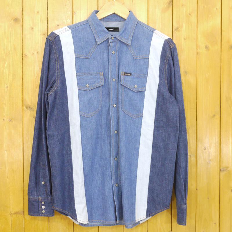 【中古】DIESEL/ディーゼル デニム長袖シャツ パッチワーク サイズ:S カラー:ブルー【f102】