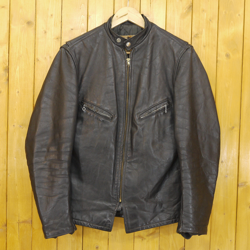 【中古】SCHOTT/ショット 60s ヴィンテージ 逆八の字 Conmar-zip シングルライダース レザージャケット サイズ:40 カラー:ブラック【f093】