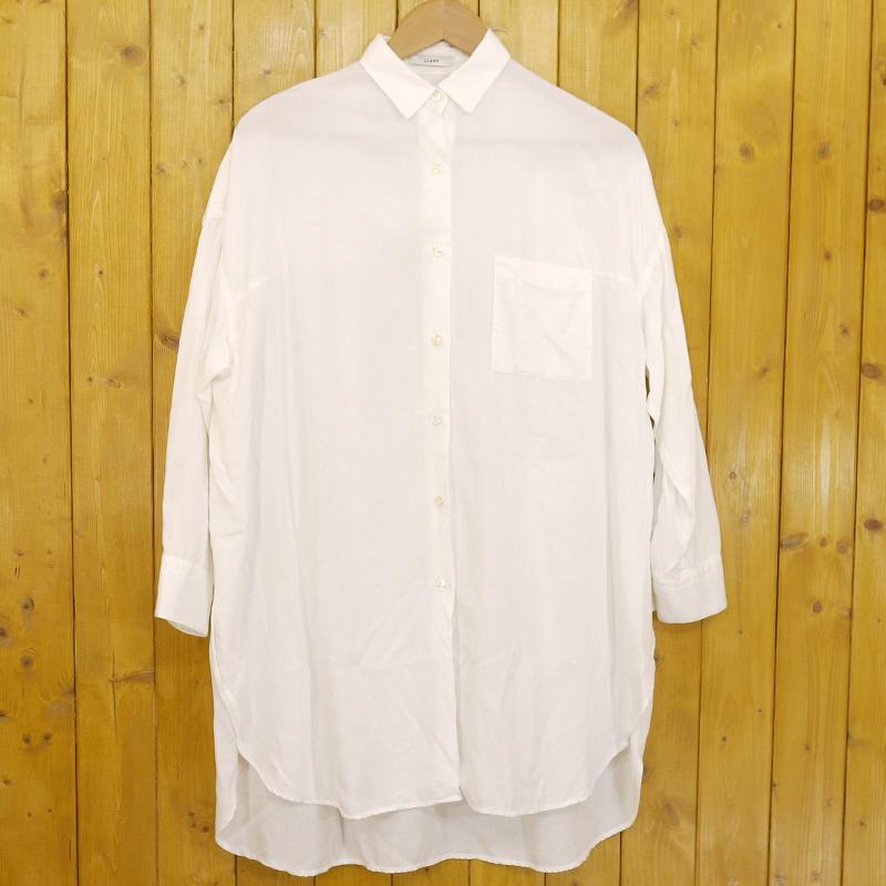 中古 CLANE クラネ 秀逸 サイドスリットビッグシャツ gwpu 未使用品 f109 サイズ:1 カラー:ホワイト