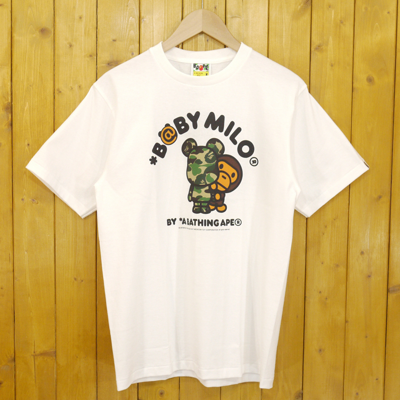 【期間限定】ポイント20倍【中古】A BATHING APE×BE@RBRICK/アベイシングエイプ×ベアブリック ABC BE@R MILO TEE 半袖Tシャツ サイズ:M カラー:ホワイト【f103】