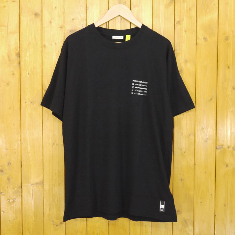 【中古】MONCLER GENIUS/モンクレール ジーニアス 7 MONCLER FRAGMENT HIROSHI FUJIWARA/7 モンクレール フラグメント ヒロシ・フジワラ プリント半袖Tシャツ サイズ:XL カラー:ブラック【f108】