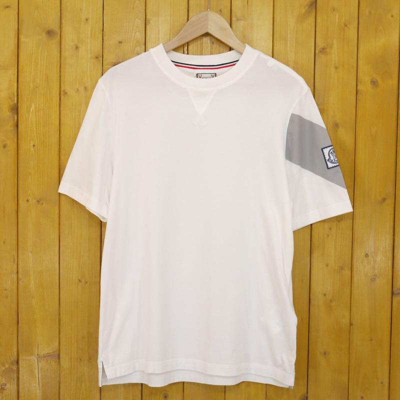 【中古】MONCLER/モンクレール 半袖Tシャツ サイズ:L カラー:ホワイト【f108】