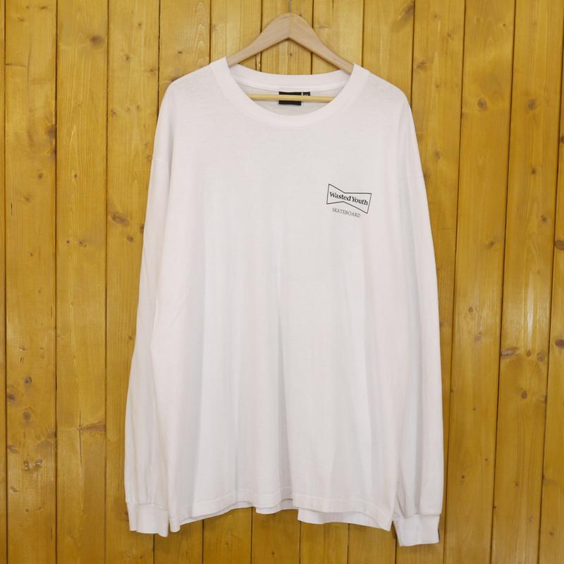 【中古】Wasted Youth/ウエステッド ユース ロゴ プリント 長袖Tシャツ サイズ:XL カラー:ホワイト【f103】