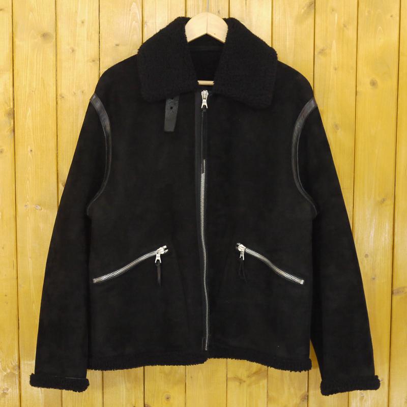【中古】COMOLI/コモリ 2018A/W シープスキン フライトジャケット レザー サイズ:2 カラー:ブラック【f096】