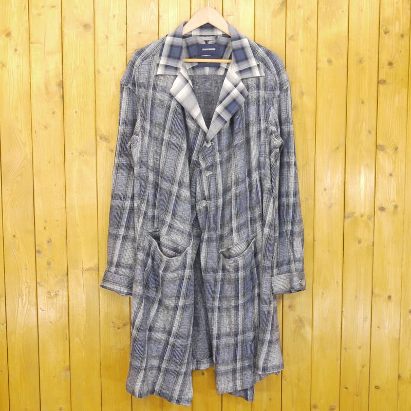 【中古】MIHARAYASUHIRO/ミハラヤスヒロ 2012S/S OMBRE CHECK SHIRTS JACKET オンブレチェックロングシャツジャケット サイズ:48 カラー:ブルーなど【f096】