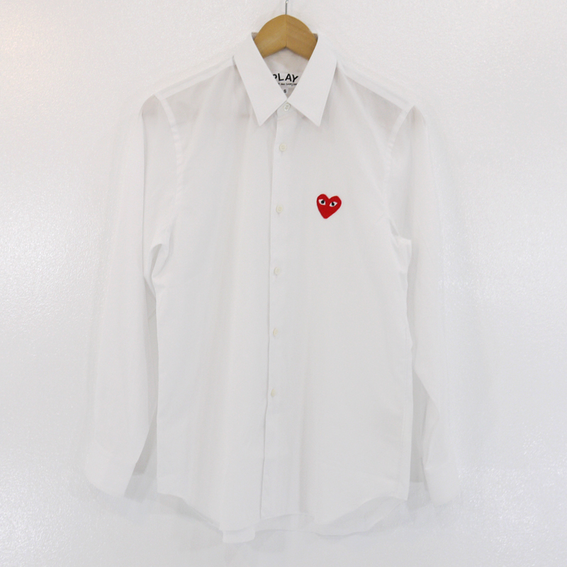 【中古】PLAY COMME des GARCONS/プレイ コムデギャルソン ワンポイント 長袖シャツ サイズ:S カラー:ホワイト【f108】