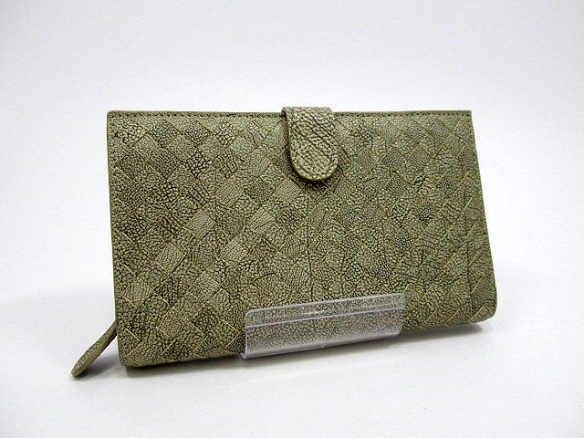 【中古】BOTTEGA VENETA/ボッテガヴェネタ レザー 二つ折り財布 カラー:グレー系