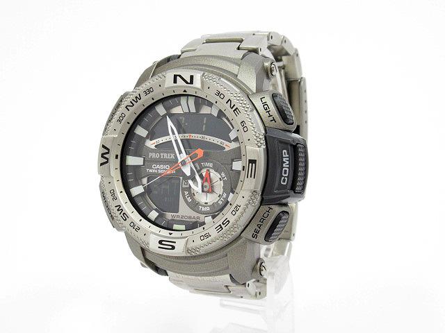 【中古】CASIO/カシオ PRO TREK プロトレック 腕時計 PRG-280D シルバー×シルバー クォーツ ステンレススティールベルト
