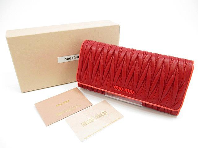 【中古】miu miu/ミュウミュウ 5MH109 マトラッセ 長財布 カラー:ピンク