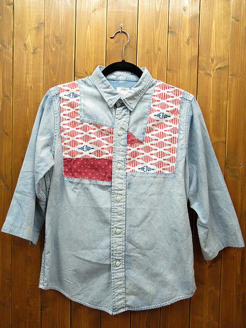 【中古】visvim/ヴィズヴィム/ビズビム 七分袖 シャツ ※袖部リペア有 サイズ:2 カラー:ブルー / ストリート