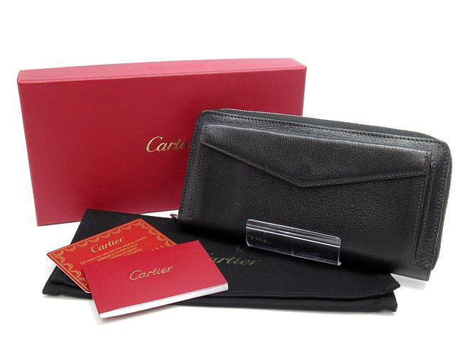 【中古】Cartier/カルティエ L3001354 マストライン ラウンドファスナー 長財布 カラー:ブラック