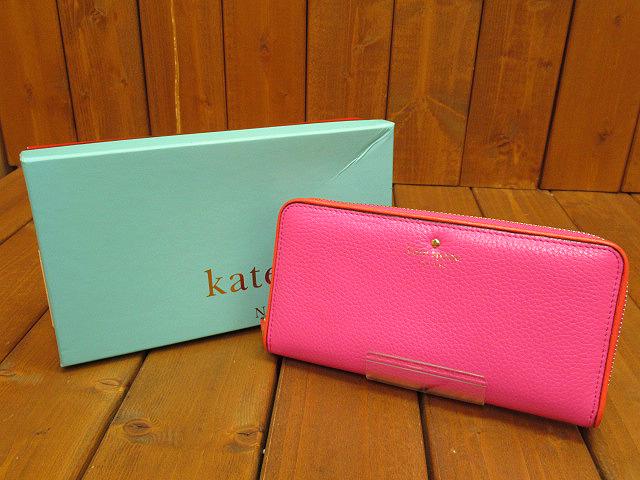 【中古】kate spade/ケイトスペード ラウンドファスナー 長財布 カラー:ピンク