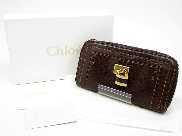 【中古】Chloe/クロエ 7EPM02 7E422 パディントン ラウンドファスナー長財布 カラー:ブラウン