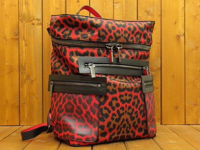【代引き不可】【中古】Christian Louboutin/クリスチャンルブタン Apoloubi Backpack レッド&ブラック レオパード リュックサック