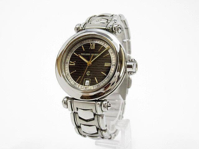 【中古】PHILIPPE CHARRIOL/フィリップシャリオール 腕時計 ブラック×シルバー クォーツ ステンレススティールベルト