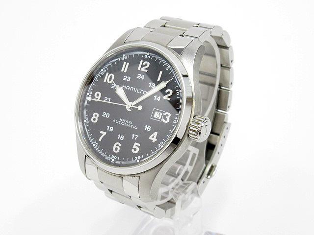 【中古】HAMILTON/ハミルトン Khaki Field Auto 44mm カーキ フィールド 腕時計 H70625133 ブラック×シルバー 自動巻き(オートマチック) ステンレススティールベルト