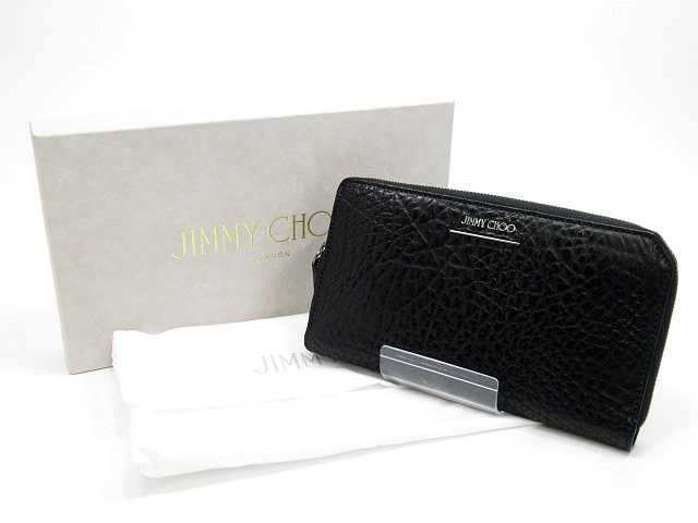 【中古】Jimmy Choo/ジミーチュウ ラウンドファスナー 長財布 / ロングウォレット カラー:ブラック