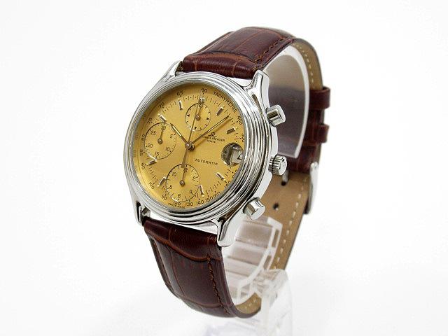 【中古】Baume & Mercier/ボーム&メルシエ クロノグラフ 腕時計 6103 ゴールド×ブラウン 自動巻き(オートマチック) 革(レザー)ベルト