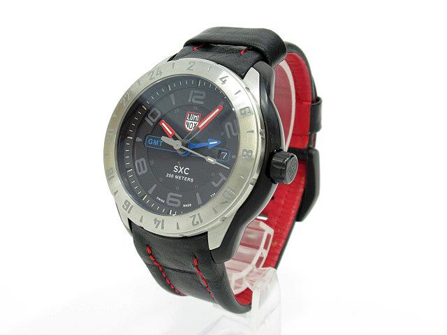 【中古】LUMINOX ルミノックス SXC STEEL GMT 5120 SPACE SERIES 腕時計 ブラック×ブラック クォーツ 革(レザー)ベルト