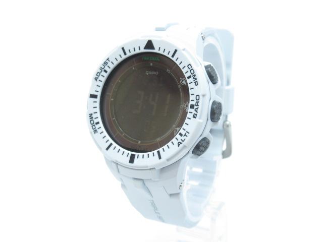 【中古】CASIO|カシオ ProTrek Triple Sensor Solar 腕時計【f131】 PRG-300-7 ブラック×ホワイト ソーラー ラバーベルト