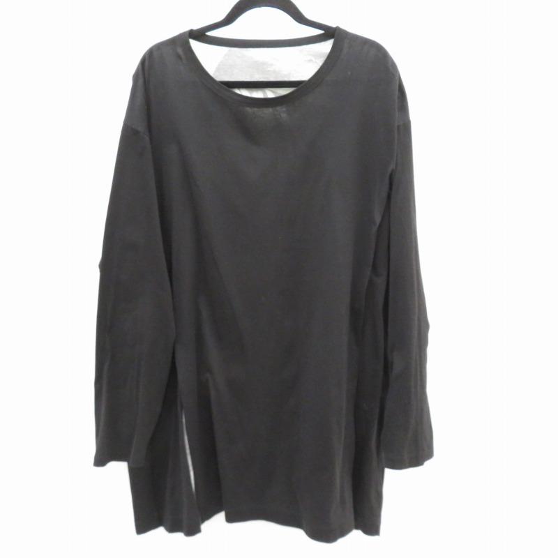【中古】Ground Y|グラウンド ワイ 18SS/NICOLAI BERGMANN/JUMBO CUTTING LONG SLEEVE Tシャツ長袖 ブラック サイズ:3【f108】
