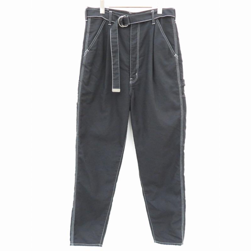 【中古】doublet|ダブレット 20SS/MEN HEAVY TWILL HIGHWAIST WIDE TAPERED TROUSERS テーパード パンツ ブラック サイズ:M【f107】