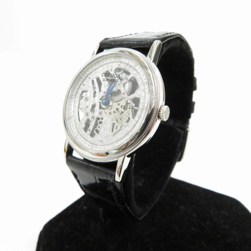 2020春の新作 【】SEIKO|セイコー CREDOR クレドール シグノ/Pt950/Ref.GBBD987/腕時計 シルバー(文字盤)×ブラック(ベルト)【f132】, 資材印刷のルネ 17bc999c