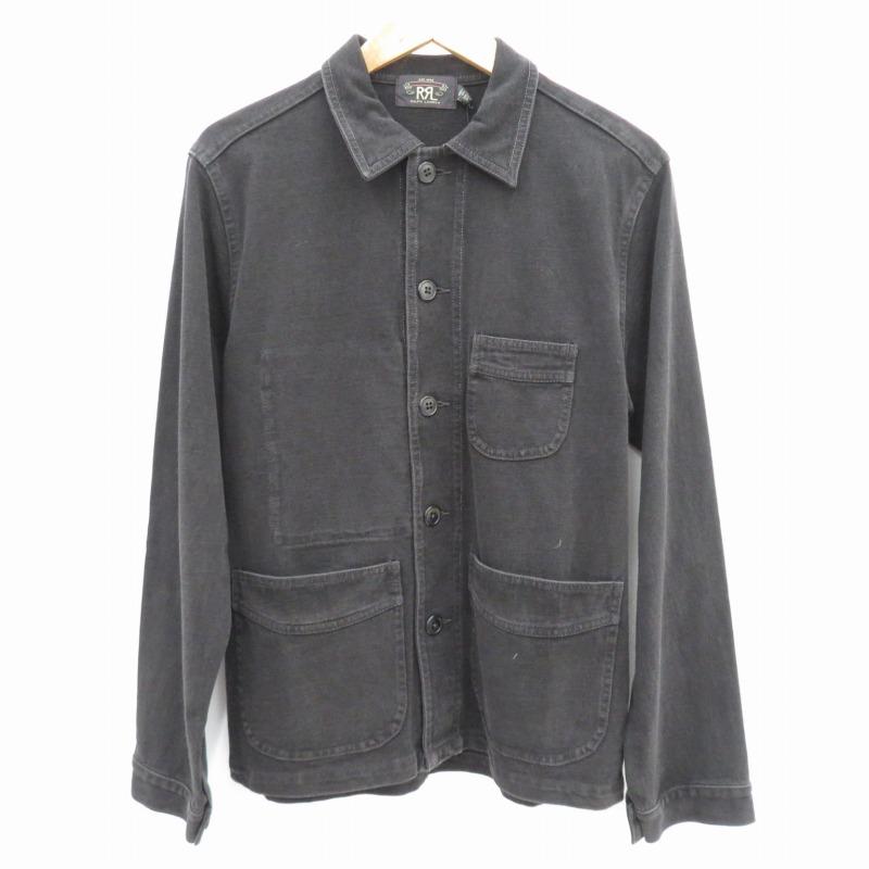 中古 RRL ダブルアールエル Cotton Jersey Chore ジャケット ブラック オーバーのアイテム取扱☆ 信託 インポート サイズ:S Coat f102
