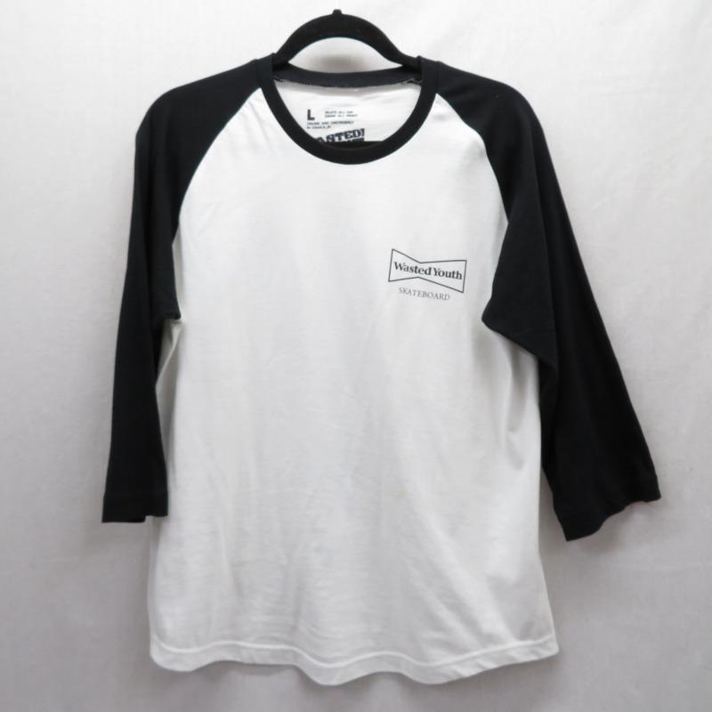 【中古】WASTED YOUTH/ウェイステッドユース 7分袖Tシャツ サイズ:L カラー:ホワイト / ストリート【f103】