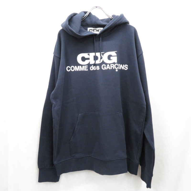 【中古】CDG COMME des GARCONS/シーディージー コムデギャルソン AD2019/SZ-T001 LOGO HOODED SWEATSHIRT プルオーバーパーカー サイズ:XL カラー:ネイビー【f108】