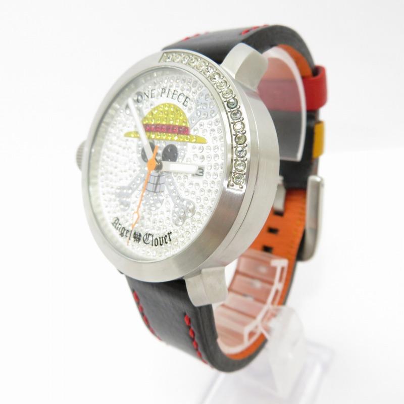 【中古】Angel Clover/エンジェルクローバー ONE PIECEコラボ 腕時計 サイズ:ー カラー:ホワイト(文字盤)×ブラック(ベルト)【f131】