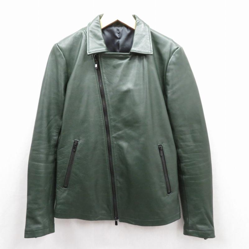 【期間限定】ポイント20倍【中古】NO ID./ノーアイディ レザージャケット サイズ:2 カラー:グリーン【f096】