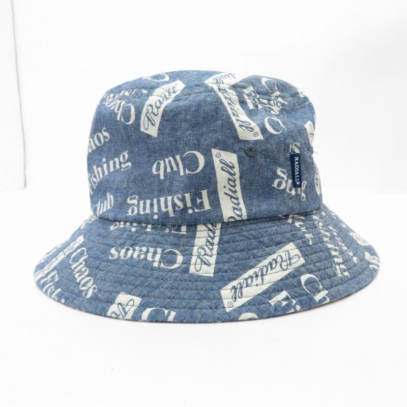 国内在庫 中古 RADIALL×Chaos Fishing Club 新作販売 ラディアル× カオスフィッシングクラブ バケットハット サイズ:L f118 カラー:ブルー 帽子 gwpu
