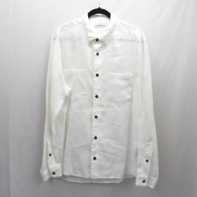 【期間限定】ポイント20倍【中古】STONE ISLAND/ストーンアイランド リネンシャツ 長袖 サイズ:XL カラー:ホワイト【f108】