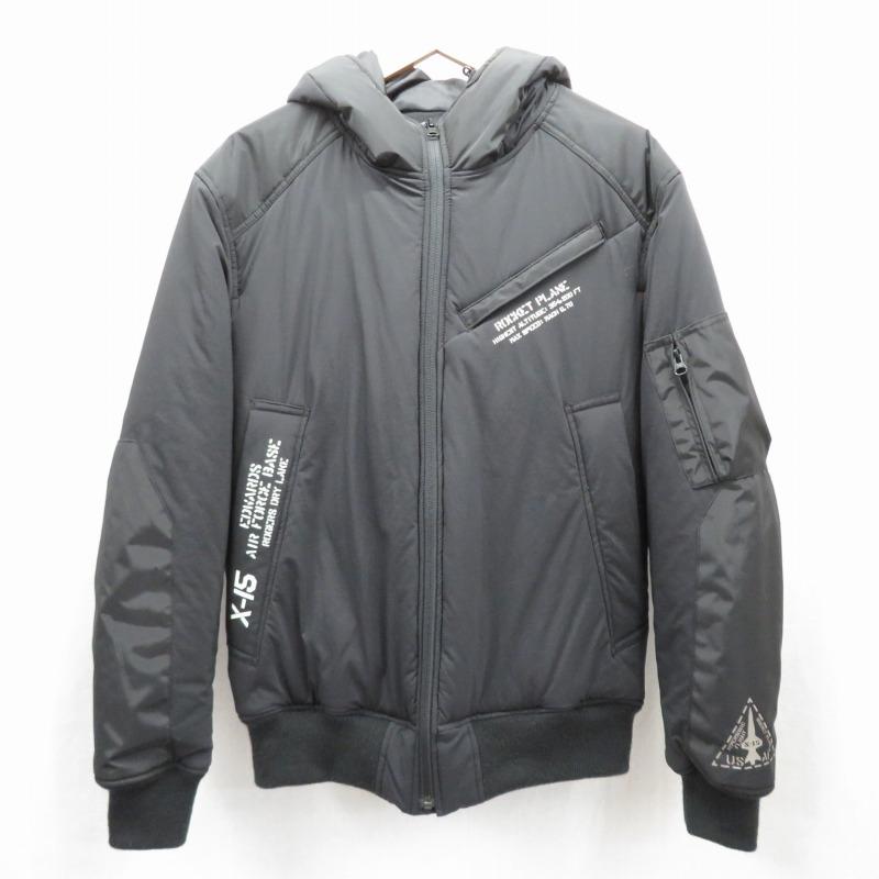 【中古】AVIREX/アビレックス ミックスファブリック ボンバージャケット 中綿ジャケット サイズ:L カラー:ブラック / アメカジ【f093】