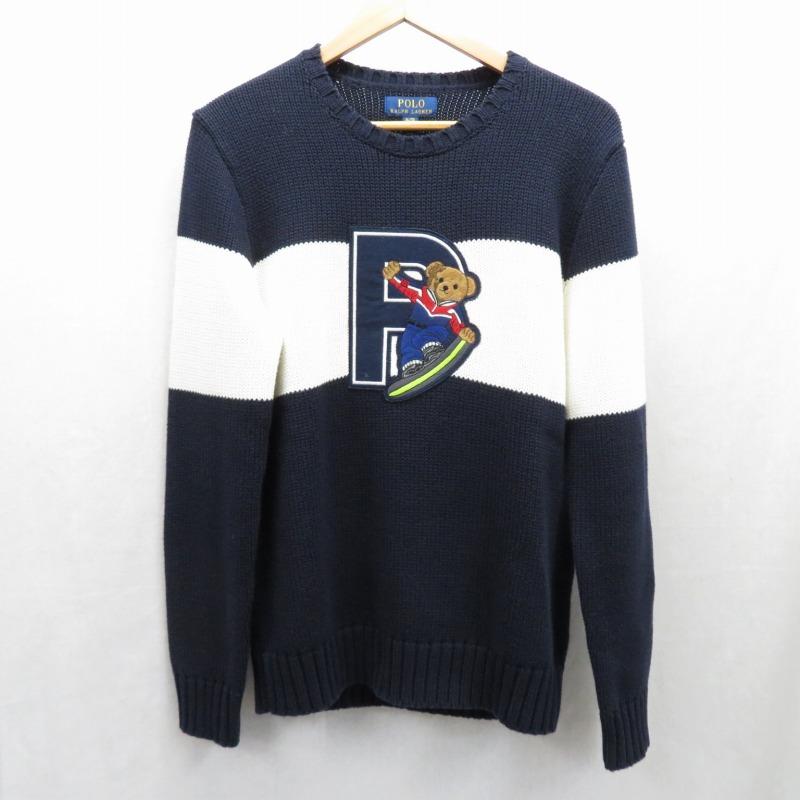【期間限定】ポイント20倍【中古】Polo Ralph Lauren/ポロラルフローレン ベアークルーネックセーター サイズ:XL カラー:ネイビー / インポート【f102】