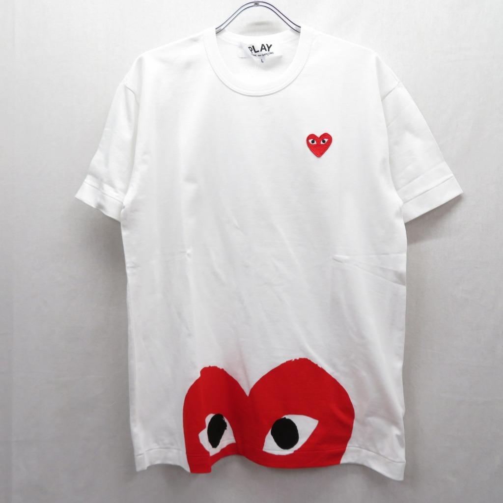 【中古】PLAY COMME des GARCONS/プレイコムデギャルソン AZ-T034/AD2019 Tシャツ半袖 サイズ:L カラー:ホワイト【f108】