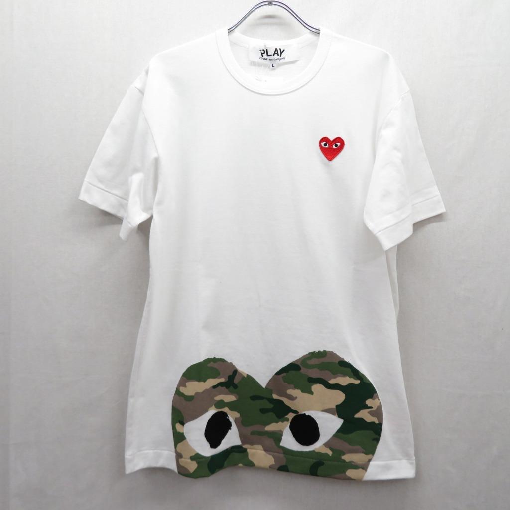 【中古】PLAY COMME des GARCONS/プレイコムデギャルソン AZ-T244/AD2019  Tシャツ半袖 サイズ:L カラー:ホワイト【f108】