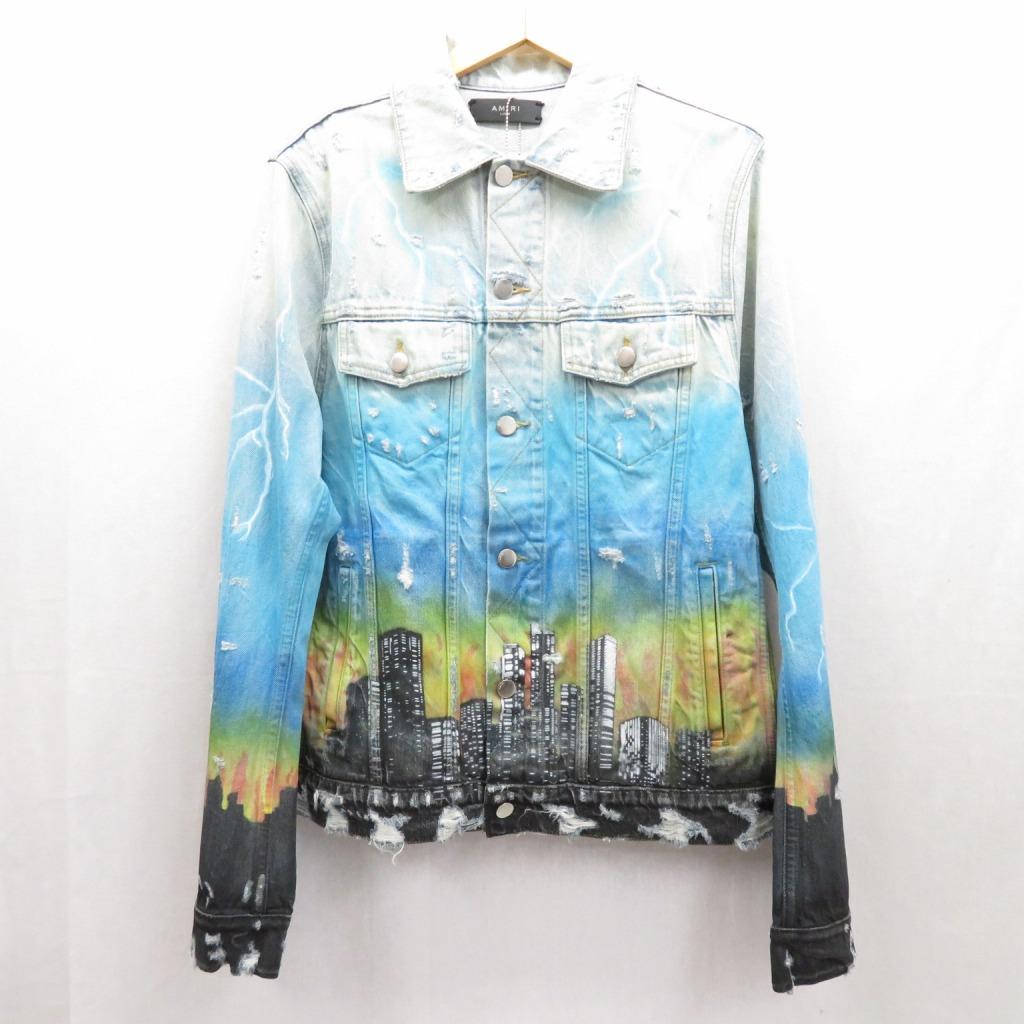 【中古】Amiri/アミリ City Dragon デニムジャケット サイズ:L カラー:ブルー / ストリート【f095】