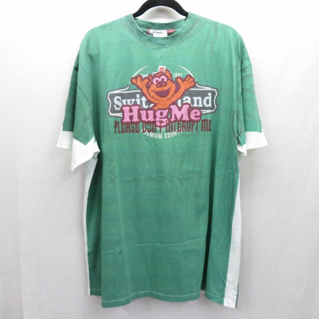【中古】VETEMENTS/ヴェトモン 18AW/Hug Me Printed T Shirt  Tシャツ半袖 サイズ:S カラー:グリーン【f108】