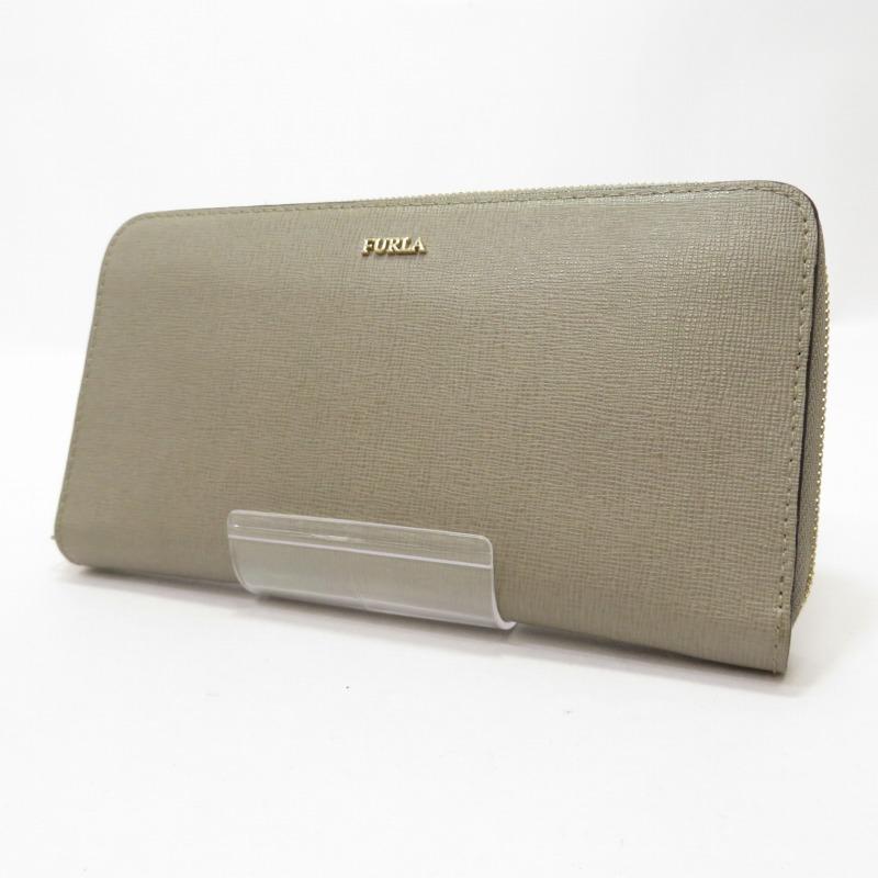 中古 倉庫 FURLA フルラ 感謝価格 バビロンシリーズ f124 サイズ:ー カラー:グレー系 ラウンドファスナー長財布