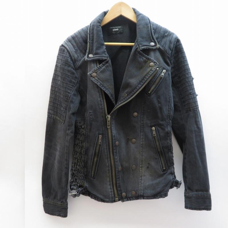 【新品】 【】glamb/グラム Jam denim riders デニムライダースジャケット サイズ:1 カラー:ブラック / ドメス【f096】, CDソフトケースcomストア c67aec1e