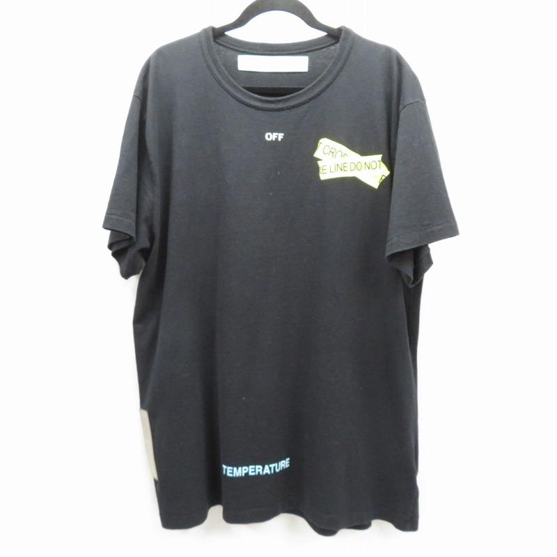 【中古】OFF-WHITE|オフホワイト 18SS FIRETAPE S/S TEE  Tシャツ 半袖 ブラック サイズ:XL【f108】