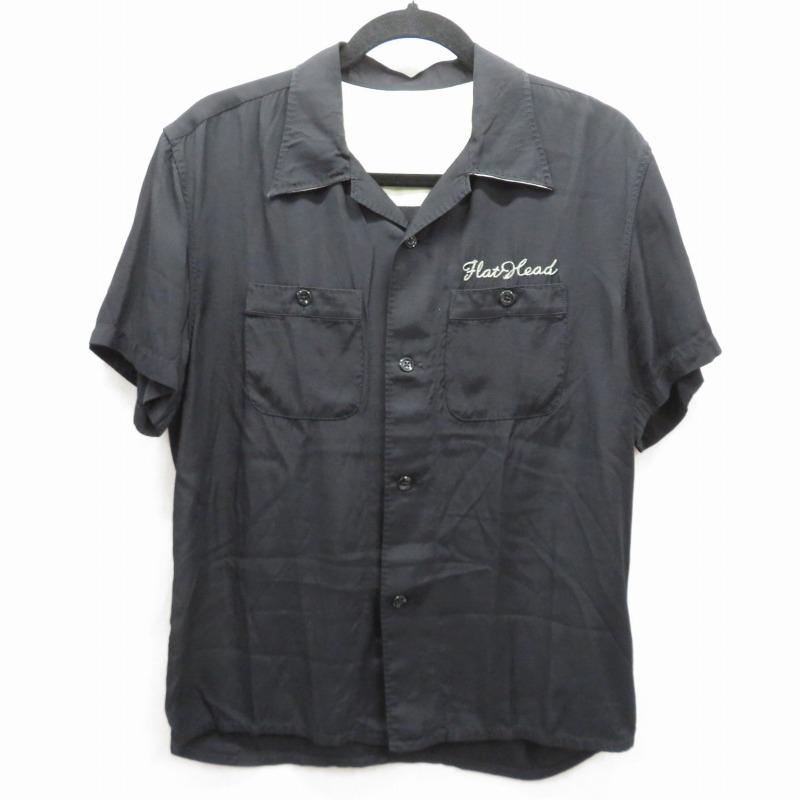 【中古】THE FLAT HEAD|ザ フラットヘッド ボーリングシャツ ブラック サイズ:38 / アメカジ【f101】
