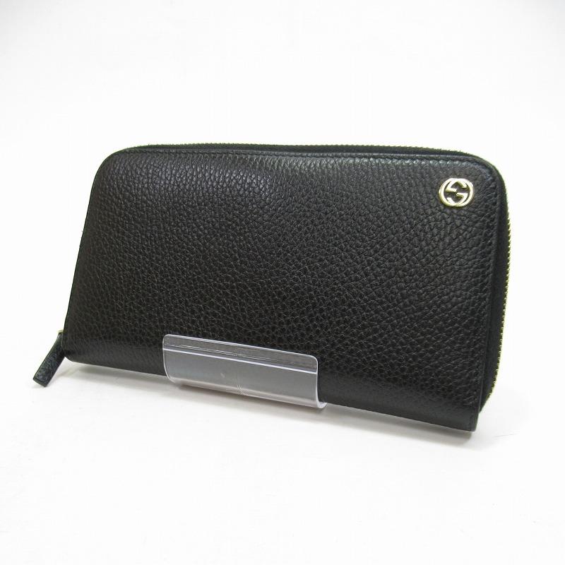 【中古】GUCCI/グッチ 509644 インターロッキングG ラウンドファスナー財布 サイズ:ー カラー:ブラック【f125】